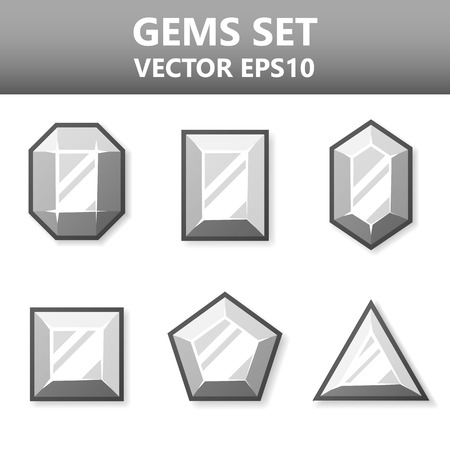 Modern vector set of silver gems for website or mobile application. Bright and stylish elements for you design
