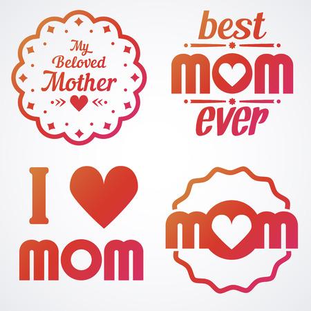 母亲节刻字书法标志和徽章套装。矢量设计元素的贺卡和其他打印模板
