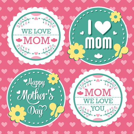 Mothers Day Lettering Calligraphic Emblems and Badges Set. Vector Design Elements For Greeting Card and Other Print Templates Illustration