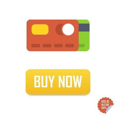 paying: Buy now button with credit cards. Buy Now vector isolated icon