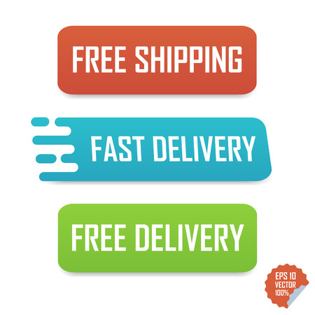 Free shipping, fast delivery and free delivery buttons. Isolated buttons for website or mobile application Illustration