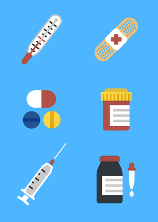 Colorful medical icons for web and mobile applications. Flat design health and treatment