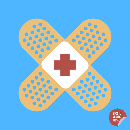 wound care: Patch medical flat with red cross. Adhesive band vector icon illustration Illustration