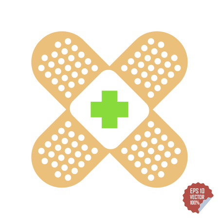 Patch medical flat with red cross. Adhesive band vector icon illustration Illustration
