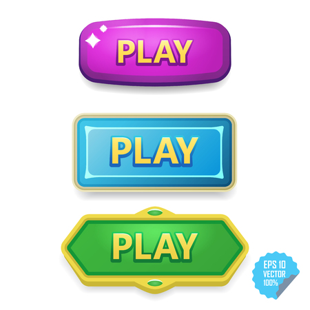 long: Colorful buttons with Play tittle on bright vector buttons for web and mobile