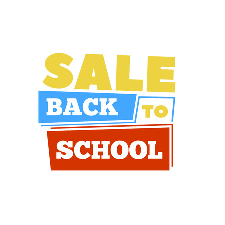 Sale Back to school emblem with book. Bright vector illustration.