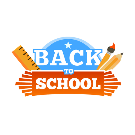 Back to school emblem with accessories. Vector illustration Illustration