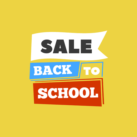 school class: Sale Back to school emblem with book. Bright vector illustration Illustration
