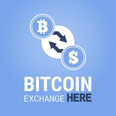 mine site: Bitcoin exchange here vector image. Vector illustration for app or website. Illustration