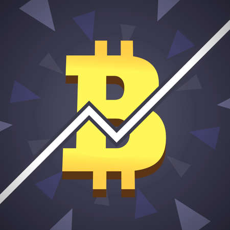 mine site: Bitcoin grow up illustration. Big golden bitcoin icon with graphic on backgound Illustration