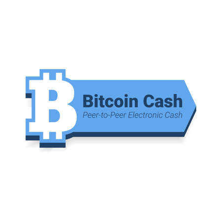 electronic background: Bitcoin cash flat icon with title isolated on white background