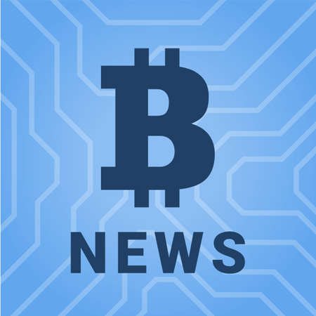 mine site: Social illustration with news of cryptocurrency. Big bitcoin illistration Illustration
