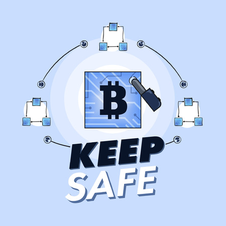 schemes: Bitcoin cryptographic currency under malware attack flat design vector Illustration