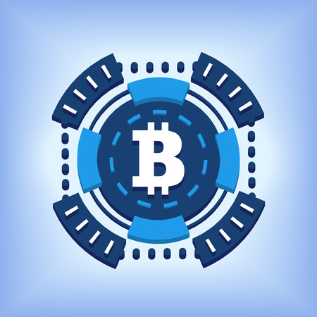 schemes: bitcoin chip online currency illustration isolated over white