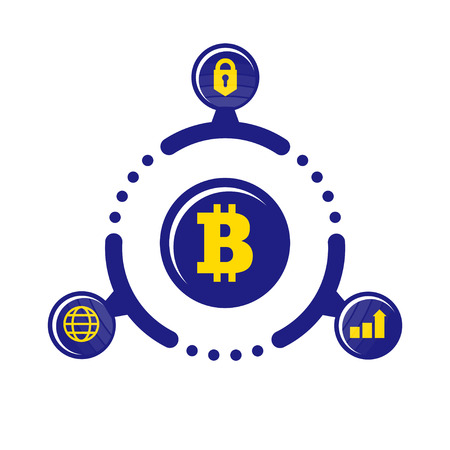 The advantages of cryptocurrency. Illustration in flat style. On white background Illustration