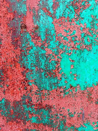Red and green grunge metal background. Old red and green texture.