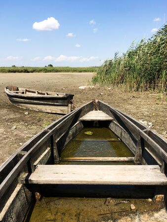 Two old wooden broken boats on the river bank near the reeds. Countryside. The dried river. Summer landscape. 写真素材