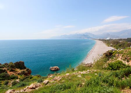 Beautiful views of the Mediterranean coast. View from above. Antalya, Turkey