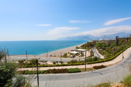 The road along the beach. View of the Mediterranean Sea. View from above. Antalya, Turkey