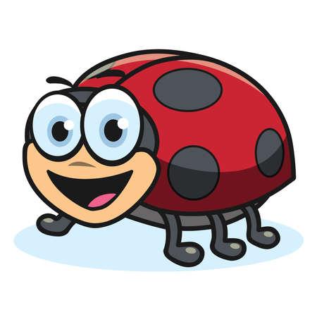 Cartoon ladybug, vector illustration