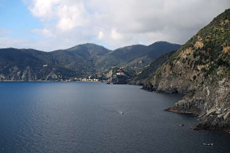 Seascape. Monterosso al Mare is located on the other side of the beach. Vernazza. Cinque Terre. Italy.
