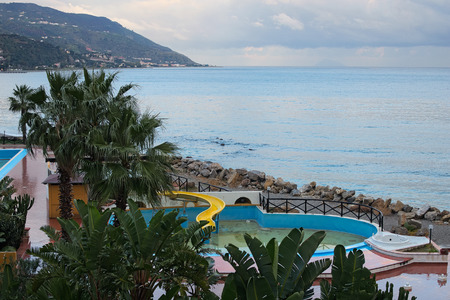 patti: Beautiful views of the hotel grounds and the sea from the room balcony. Marina di Patti. Sicily.