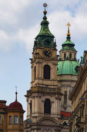 Beautiful view of the Church of St. Nicholas in the Malostranske Square. Prague. Czech Republic.