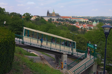 Prague, Czech Republic-AUGUST 21,2018: Landscape photo of Prague Castle with saint Vitus Cathedral View from Petrin Hill funicular tram station by summer sunny day.