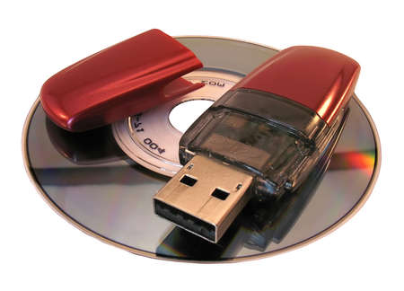 micro drive: Red flash-card lays on a mini-disk. It is isolated on a white background.