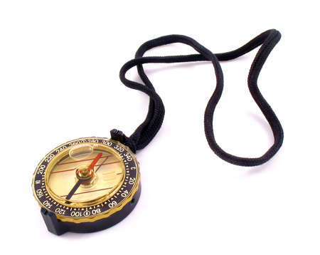 isilated: Compass with black lace. It is isilated on white background.