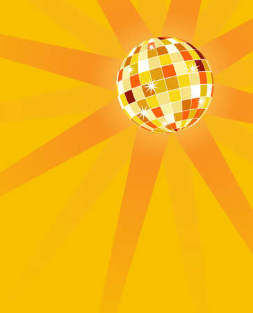 Vector background with orange disco ball, representing the sun. Vector