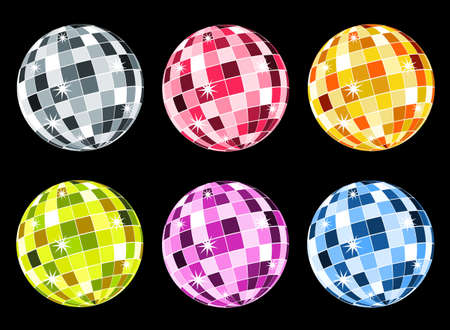 Set of six disco balls: silver, red, orange, green, violet and blue.  Stock Vector - 5701551
