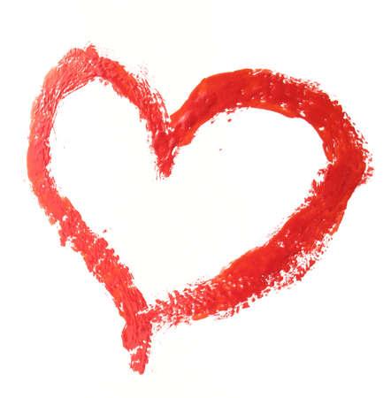 dessin coeur: Coeur rouge trac�e par la peinture. Il est isol� sur fond blanc.
