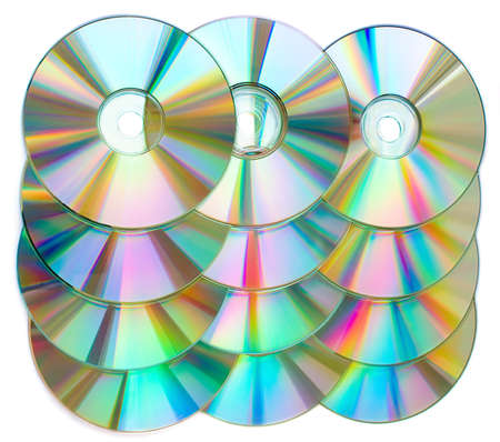 cds: CDs in a rows isolated on white. Stock Photo