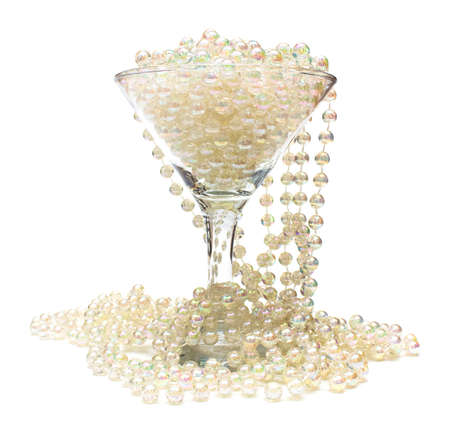 frippery: Goblet of pearls  Necklace of white beads in glass and around it