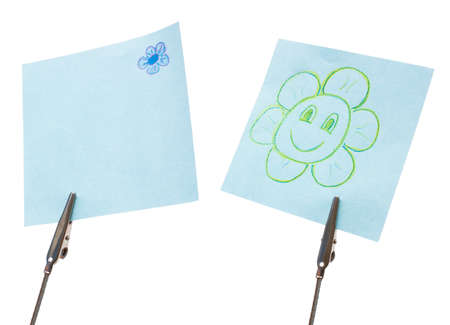Blue reminders with simplicity drawing flowers isolated on white photo
