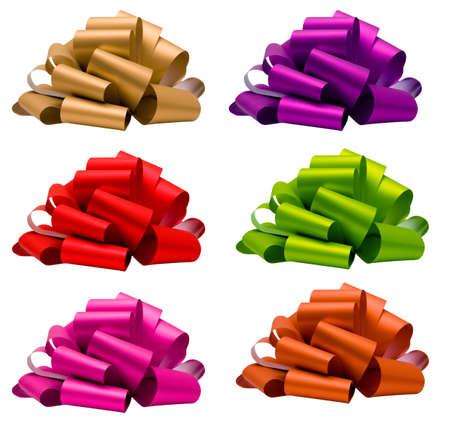 lazo rosa: Colecci�n del arco rojo, rosa, verde, morado, naranja, beige, aislado en blanco, vista lateral