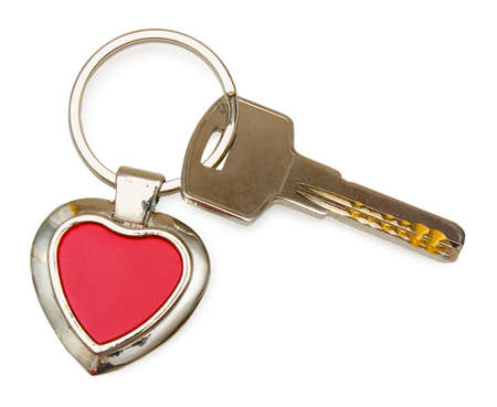 keychain: Metal key with red heart keychain  It is isolated on white background