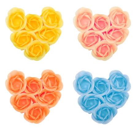 Collection hearts from flower soap in form of roses  Isolated on white  photo