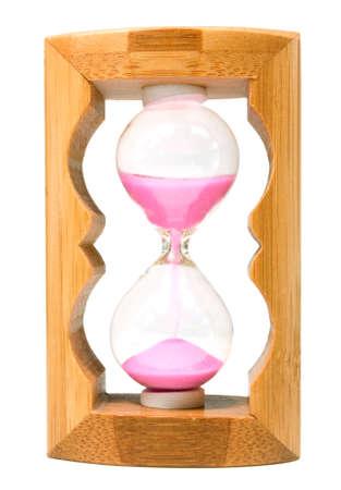 sandglass: Sandglass  wooden frame, pink sand  isolated on white  Stock Photo