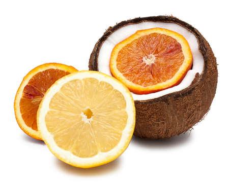 Orange, coconut and lemon isolated on white photo