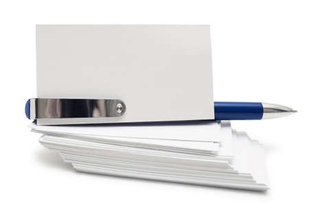 isolates: Stack of business cards and blue pen isolates on white