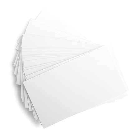 isolates: Heap of business cards isolates on white Stock Photo
