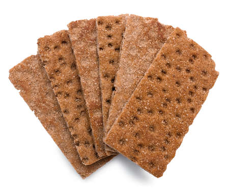 crispbread: Six crispbread with bran isolated over white