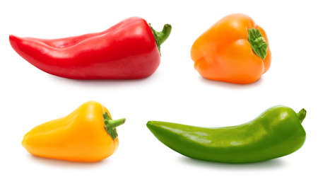 over white: Small pepper set collection isolated over white, clipping path