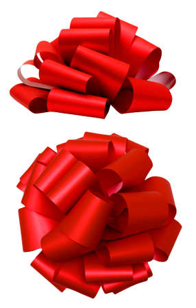 Red lush bow isolated over white with clipping path; side and top view Banque d'images