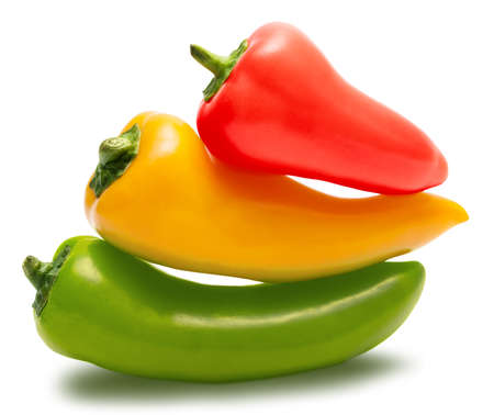 trafficlight: Small red, yellow and green peppers isolated over white with path. Its like a traffic light.