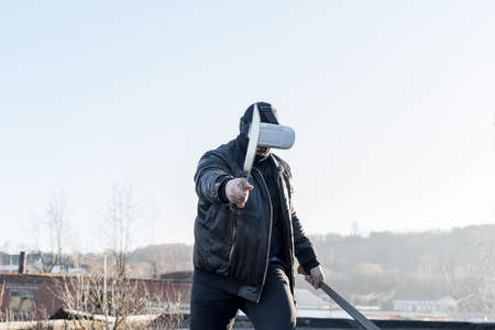 Men in virtual reality glasses Standard-Bild