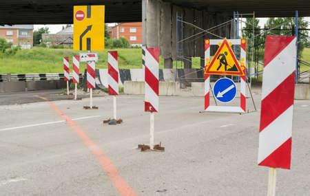 Road signs, detour, road repair