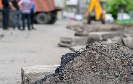 un trozo de carretera asfaltada Foto de archivo